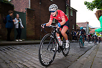 Picture by Alex Whitehead/SWpix.com - 14/05/2017 - Cycling - 2017 HSBC UK | National Women's Road Series - Lincoln Grand Prix - Team Breeze's Manon Lloyd climbs the Michaelgate cobbles.