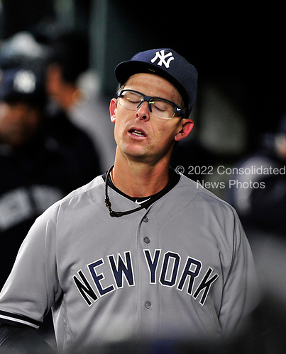 New York Yankees relief pitcher Tyler Clippard (29) reacts in the dugout after giving up the game-winning 2 run home run to Baltimore Orioles right fielder Seth Smith (12) in the seventh inning at Oriole Park at Camden Yards in Baltimore, MD on Friday, April 7, 2017.  The Orioles won the game 6 - 5.<br /> Credit: Ron Sachs / CNP<br /> (RESTRICTION: NO New York or New Jersey Newspapers or newspapers within a 75 mile radius of New York City)