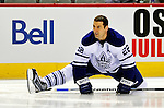 10 April 2010: Toronto Maple Leafs' defenseman Francois Beauchemin warms up prior to a game against the Montreal Canadiens at the Bell Centre in Montreal, Quebec, Canada. The Maple Leafs defeated the Canadiens 4-3 in sudden death overtime. Mandatory Credit: Ed Wolfstein Photo