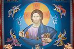 Main Byzantine Pantocrator  of Christ looms over the ceiling created Miloje Milinkovic iconographer inside St. Sava Serbian Orthodox Church, Jackson, Calif.