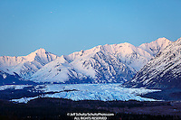 Spring landscape of night-time view of Chugach Mountains and Matanuska Glacier in the  Glacier View Area of Matanuska Valley  Spring Southcentral, Alaska <br /> <br /> Photo by Jeff Schultz (C) 2016  ALL RIGHTS RESERVED