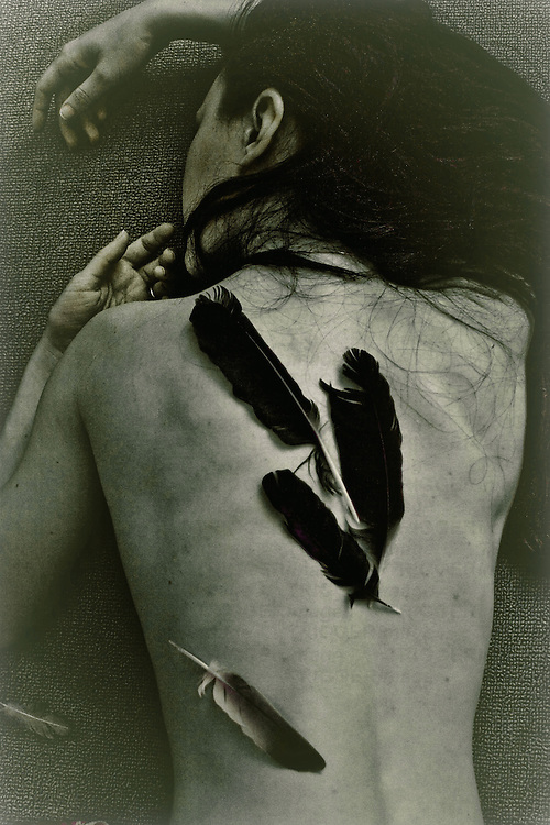 Young naked woman lying with feathers on her back