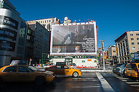 "A Calvin Klein billboard advertises a promotional video entitled ""Provocations"" on YouTube featuring the actor Alexander Skarsgård in the Soho neighborhood of New York on Sunday, February 10, 2013.  (© Richard B. Levine)"