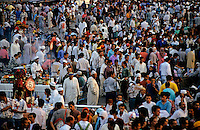 Crowded bazaar in Djemaa El Fna, Marrakesh, Morocco.