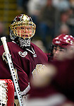 "19 January 2007: Boston College goaltender Corey Schneider from Marblehead, MA, in action during a Hockey East matchup against the University of Vermont at Gutterson Fieldhouse in Burlington, Vermont. The UVM Catamounts defeated the BC Eagles 3-2 before a record setting 50th consecutive sellout at ""the Gut""...Mandatory Photo Credit: Ed Wolfstein Photo."