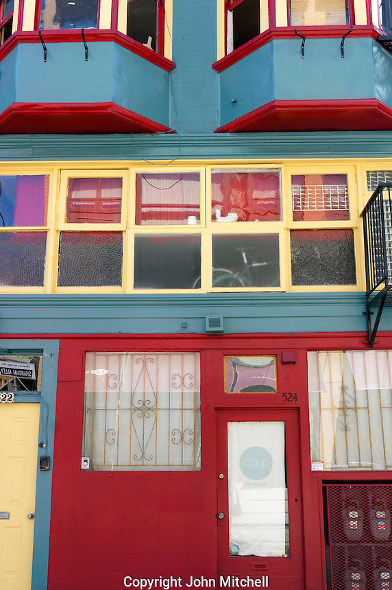 Colorful facade of an historical building in Shanghai Alley, Chinatown, Vancouver, BC, Canada