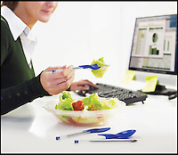 BNPS.co.uk (01202) 558833<br /> Picture: ZoLoft/BNPS<br /> <br /> ****Please use full byline****<br /> <br /> Working lunch...<br /> <br /> A range of cutlery that doubles up as pen toppers has been invented so workaholics can eat their lunch without having to leave their desk.<br /> <br /> The &pound;5.49 lid has been designed to slot on to a standard Biro to make it easier for office staff to stop and grab a bite to eat while in the middle of a piece of work.<br /> <br /> The quirky caps are shaped like a knife, fork, and spoon and are interchangeable depending on what a user would like to eat.
