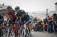 later podium riders Dylan Teuns (BEL/BMC) &amp; Alejandro Valverde (ESP/Movistar) side-by-side up the infamous Mur de Huy<br /> <br /> 81st La Fl&egrave;che Wallonne (1.UWT)<br /> One Day Race: Binche &rsaquo; Huy (200.5km)