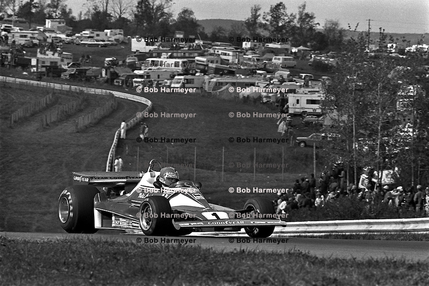 WATKINS GLEN, NY - OCTOBER 10: Niki Lauda or Austria drives his Ferrari 312T2 026/Ferrari 015 en route to a third place finish in the United States Grand Prix East FIA Formula 1 race at the Watkins Glen Grand Prix Race Course near Watkins Glen, New York, on October 10, 1976.