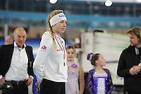 SCHAATSEN: HEERENVEEN: 03-02-2017, KPN NK Junioren, Podium Junioren A, 500m Dames, Joy Beune, ©foto Martin de Jong