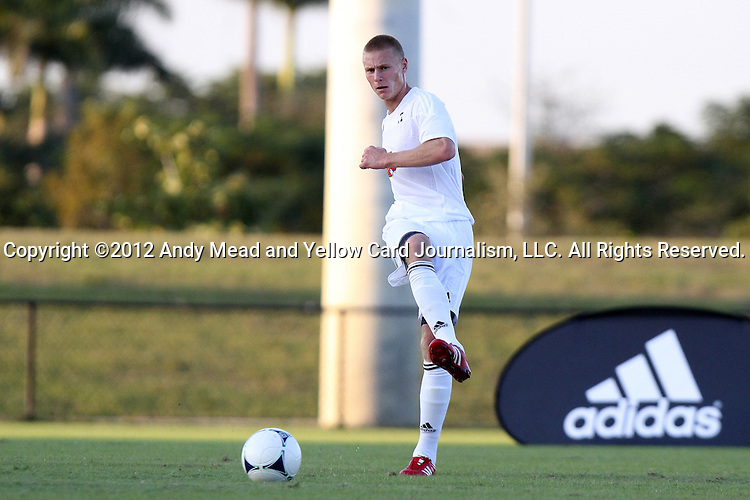 06 January 2012: Andy Rose (UCLA) (ENG). The 2012 MLS Player Combine was held on the cricket oval at Central Broward Regional Park in Lauderhill, Florida.