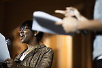 """Rogene C. Evans, a journalism and integrated media student, emcees the Black Student Cultural Programming Board's talent showcase """"Apollo Night's Best"""" on Friday, Feb. 5, 2016. Photo by Kaitlin Owens"""