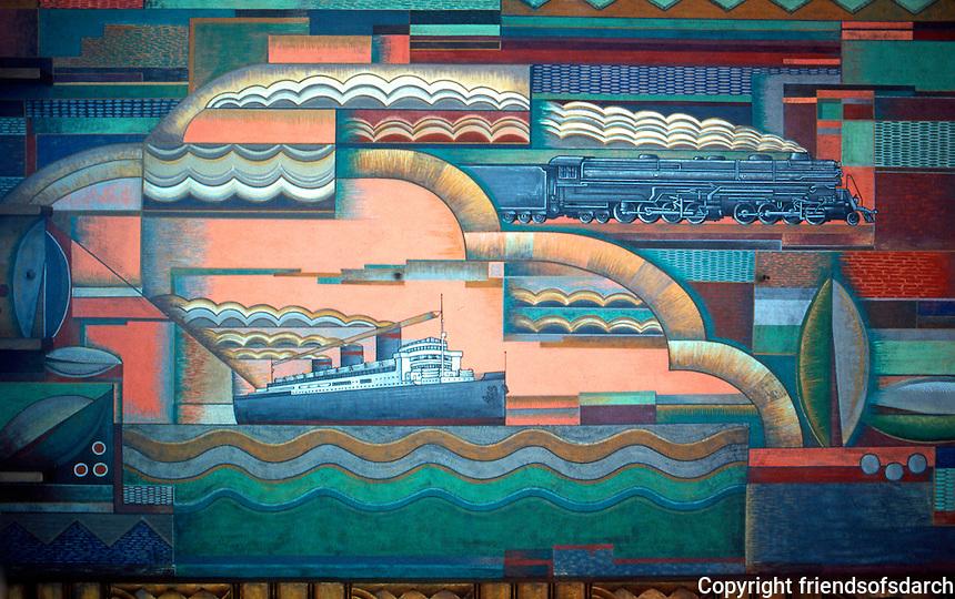 Los Angeles: Bullocks-Wilshire Porte Cochere. Ceiling mural by Herman Sachs, 1929. Photo '82.