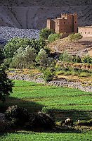 Kasbah overlooking trees and a field in the Dadès Gorges, Atlas Mountains, Morocco.