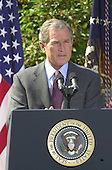 """United States President George W. Bush makes remarks as he names John P. Walters to be the """"Drug Czar"""" in the Rose Garden of the White House in Washington, D.C. on May 10, 2001..Credit: Ron Sachs / CNP"""