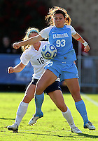 SAN DIEGO, CA - DECEMBER 02, 2012:  Brooke Elby (93) of the University of North Carolina blocks Mallory Weber (16) of Penn State University during the NCAA 2012 women's college championship match, at Torero Stadium, in San Diego, CA, on Sunday, December 02 2012. Carolina won 4-1.