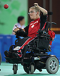 Brock Richardson of Brampton, Ont. plays Takayuki Kitani of Japan in boccia action at the Paralympic Games in Beijing, Sunday, Sept., 7, 2008. Photo by Mike Ridewood/CPC