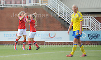 Synne Jensen of Norway is celebrating with teamate Synne Skinnes Hansen on scoring her side's 5th goal during the UEFA Womens U19 Championships at Stebonheath park Sunday 25th August 2013. All images are the copyright of Jeff Thomas Photography-www.jaypics.photoshelter.com-07837 386244-Any use of images must be authorised by the copyright owner.