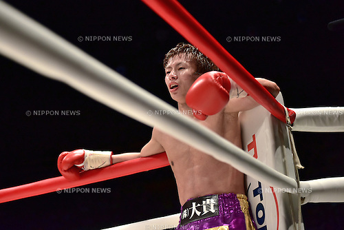 Ryoichi Taguchi (JPN),<br /> MAY 6, 2015 - Boxing :<br /> Ryoichi Taguchi of Japan waits in the neutral corner after knocking down in the eighth round during the WBA light flyweight title bout at Ota-City General Gymnasium in Tokyo, Japan. (Photo by Hiroaki Yamaguchi/AFLO)