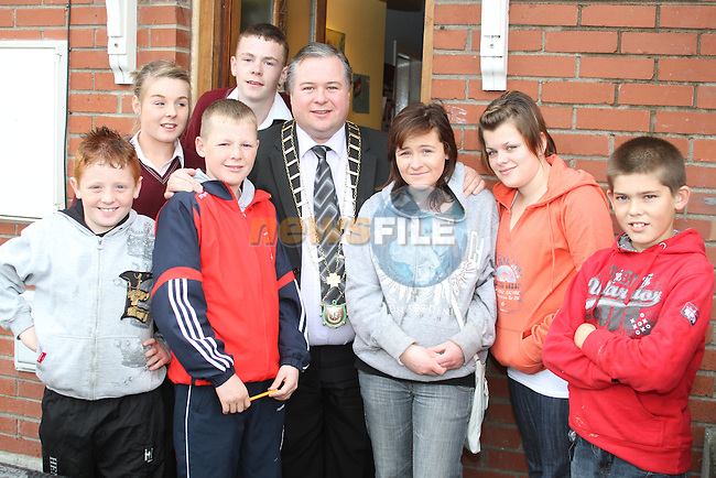 Leon Dyas, Jamie Reilly, Bambi, Olivia Kavanagh, Sarah Campbell, Lauren Reynolds and Dillon O'Brien with Mayor Paul Bell at the Open Day for Boyne Garda Youth Project...Picture Jenny Matthews/Newsfile.ie