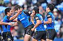 (L to R) Seiichi Shimomura (Wild Knights),. Jaque Fourie (Wild Knights), Atsushi Tanabe (Wild Knights), Akihito Yamada (Wild Knights),.FEBRUARY 26, 2012 - Rugby : Japan Rugby Top League 2011-2012,Play Off Tournament Final .match between Suntory Sungoliath 47-28 Panasonic Wild Knights at Chichibunomiya Rugby Stadium, Tokyo, Japan. (Photo by Jun Tsukida/AFLO SPORT) [0003] .