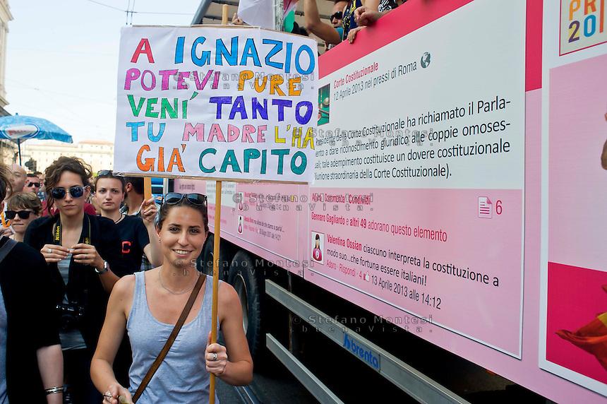 Roma 15 Giugno 2013<br /> GayPride 2013.<br /> La Sfilata del Gay pride, la giornat&agrave; dell' orgoglio omossessuale per le vie della citt&agrave;.Un cartello  contro Il Sindaco di Roma Ignazio Marino