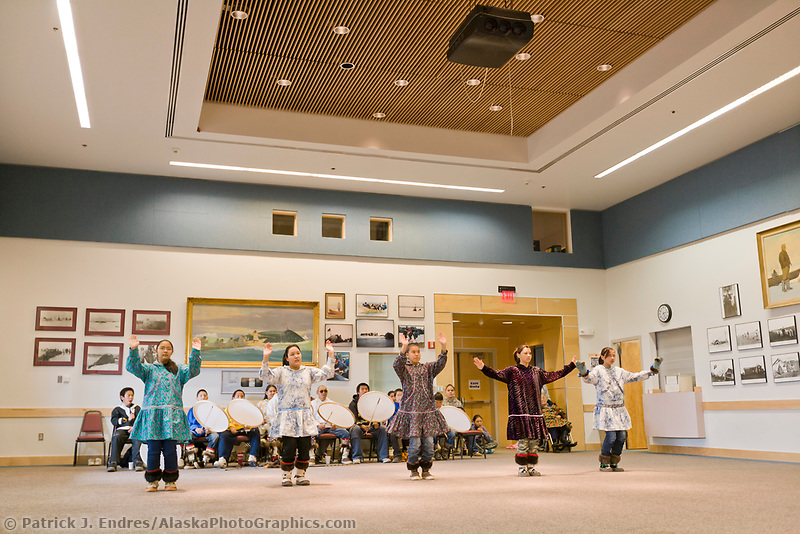 Native Inupiaq dancers perform for tourists in Barrow, Alaska.