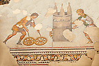 6th century Byzantine Roman mosaics of a race from the peristyle of the Great Palace from the reign of Emperor Justinian I. Istanbul, Turkey.
