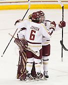 Corinne Boyles (BC - 29), Kaliya Johnson (BC - 6), Meagan Mangene (BC - 24) - The Boston College Eagles defeated the visiting University of Vermont Catamounts 2-0 on Saturday, January 18, 2014, at Kelley Rink in Conte Forum in Chestnut Hill, Massachusetts.