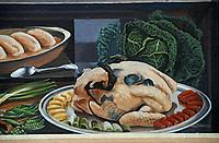 Europe/France/Rhône-Alpes/69/Rhône/Lyon: La fresque des lyonnais rue de la Martinière - Gastronomie lyonnaise - Poularde de Bresse demi-deuil et quenelles [Non destiné à un usage publicitaire - Not intended for an advertising use] [Non destiné à un usage publicitaire - Not intended for an advertising use]