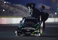 May 18, 2012; Topeka, KS, USA: NHRA funny car driver Alexis DeJoria during qualifying for the Summer Nationals at Heartland Park Topeka. Mandatory Credit: Mark J. Rebilas-