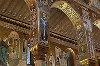 Saracen arches between the nave and the ambulatory of the Cappella Palatina (Palatine Chapel), 1130 - 1140, by Roger II, within the Palazzo dei Normanni (Palace of the Normans), Palermo, Sicily, Italy. Picture by Manuel Cohen