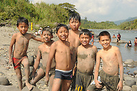 Local boys at an annual 'River Day' event near the village of Borja in eastern Ecuador.