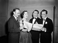 Radio Review Special  at Theatre Royal.Joe Loss (second from right) Norman Metcalfe (far left).23/10/1953..Joshua Alexander &quot;Joe&quot; Loss LVO OBE (22 June 1909 - 6 June 1990) was a British musician and founder of the Joe Loss Orchestra...Norman Metcalfe was a musician from Trinity who played the musical clues...