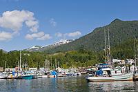 Thomas Basin boat harbor in downtown Ketchikan, Alaska.