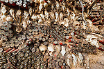 Animal skulls and ammo embedded in wall, Mopti Region, Mali