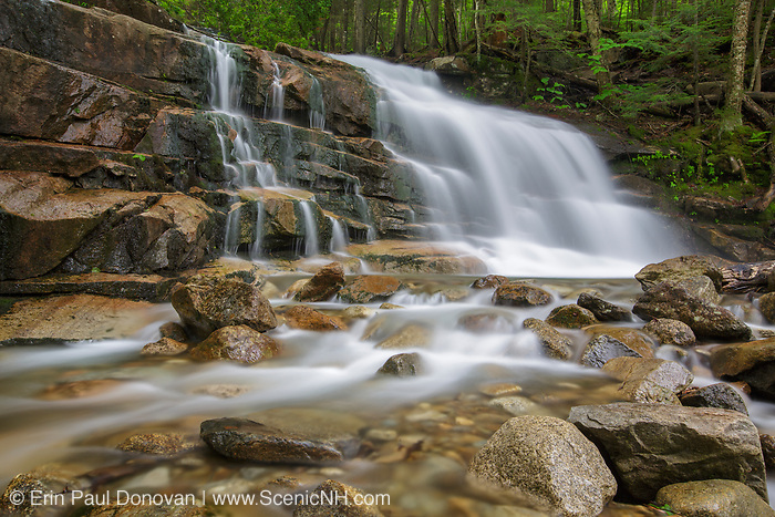 Franconia Notch State Park - Stairs Falls during the spring months. This waterfall is located on Dry Brook in Lincoln, New Hampshire USA. And the Falling Waters Trail passes by it.