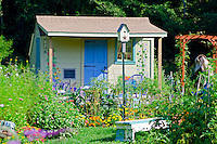 Yarmouth Community Garden fanciful shed for Childrens courses, Yarmouth ME, USA