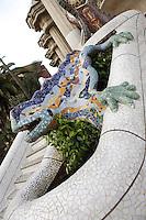Dragon (or salamander or lizard), Park Güell, Barcelona, Catalonia, Spain, 1900 - 1914, built by architect Antoní Gaudi (Reus 1852, Barcelona 1926). Picture by Manuel Cohen