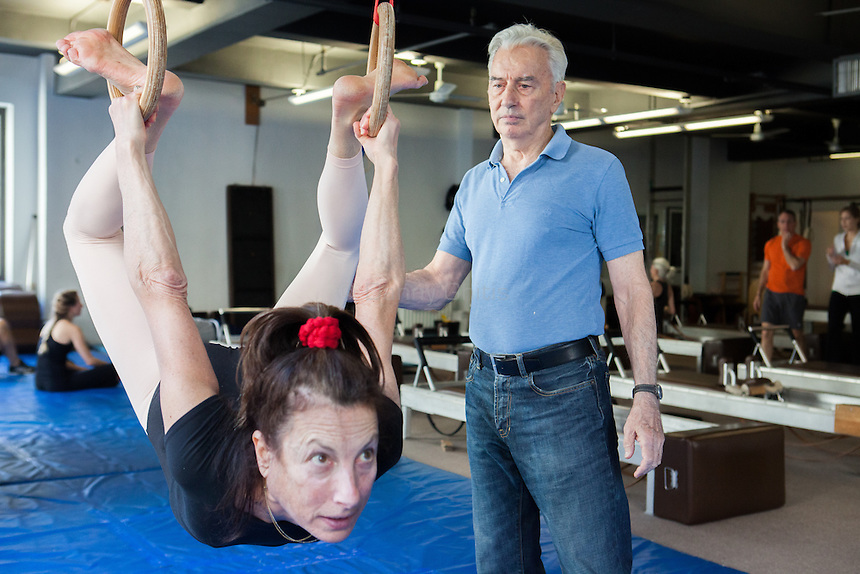 Ivo Lupis, 84, has been working as a personal trainer on 57th St since 1967. His recently client age spans from ages 4-93, though he now mostly works with seniors. Pictured, Janie Fox, 66 who has trained with Lupis for more than 35 years. (She appeared with him in a Times photo in 1989). <br /> <br /> Danny Ghitis for The New York Times