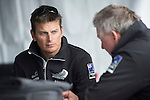 Emirates Team New Zealand helmsman Dean Barker and coach Rod Davis in the hospitality area in San Francisco. 23/8/2012