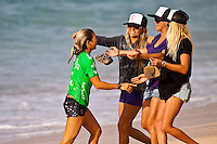 HALEIWA, HI (Nov. 28, 2009) --  Coco Ho (HAW) The WCT Gidget Pro at Sunset Beach was won today by Hawaiin surfer Carissa Moore (HAW). Runner up was Sally Fitzgibbons (AUS) with newly crown 2009 World Professional Surfing Champion Stephanie Gilmore (AUS) with Alana Blanchard (HAW) in fourth...Gilmore won the 2009 Title when Coco Ho (HAW) failed to advance from the semi finals. It is Gilmore's third straight world title win... The northern hemisphere winter months on the North Shore signal a concentration of surfing activity with some of the best surfers in the world taking advantage of swells originating in the stormy Northern Pacific. Notable North Shore spots include Waimea Bay, Off The Wall, Backdoor, Rocky Point, Log Cabins, Rockpiles and Sunset Beach... Ehukai Beach is more  commonly known as Pipeline and is the most notable surfing spot on the North Shore. It is considered a prime spot for competitions due to its close proximity to the beach, giving spectators, judges, and photographers a great view...The North Shore is considered to be one the surfing world's must see locations and every December hosts three competitions, which make up the Triple Crown of Surfing. The three men's competitions are the Reef Hawaiian Pro at Haleiwa, the O'Neill World Cup of Surfing at Sunset Beach, and the Billabong Pipeline Masters. The three women's competitions are the Reef Hawaiian Pro at Haleiwa, the Gidget Pro at Sunset Beach, and the Billabong Pro on the neighboring island of Maui...Photo: Joliphotos.com