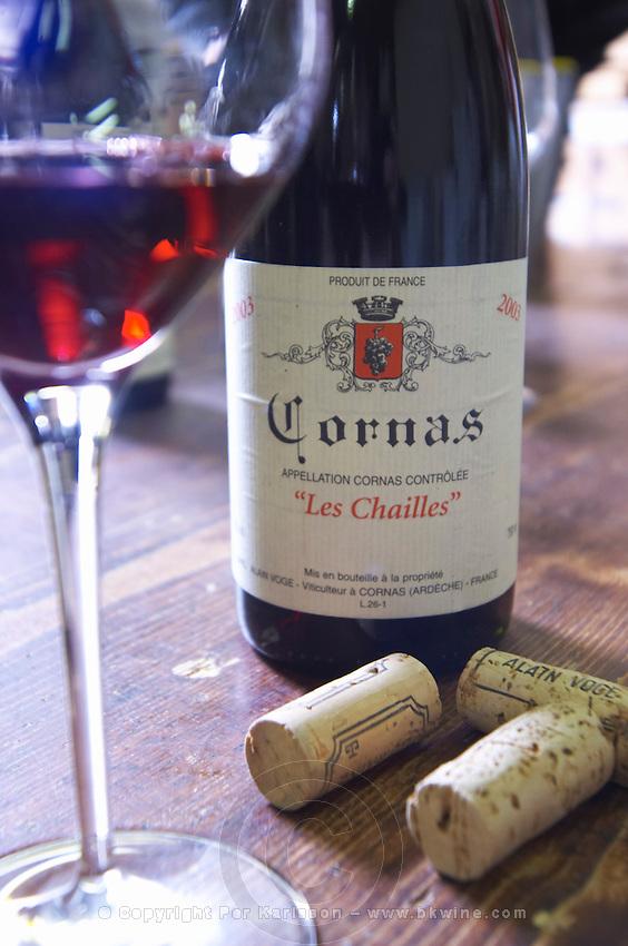 bottle glass corks les chailles dom a voge cornas rhone france