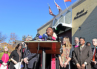 Rev. Andrea Alexander, (pictured) of the National Council of Churches, speaks at a press conference calling on President-elect Donald Trump to respect religious liberty. In the aftermath of the election and in response to the rising hate crimes against Muslims, national Christian and Jewish leaders joined their Muslim colleagues at Masjid Muhammad in Washington, D.C. on Friday, November 18, 2016 for the daily Muslim prayer service.<br /> Credit: Ron Sachs / CNP /MediaPunch