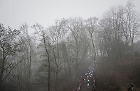 the U23 peloton rushes up the first (steep) climb of the day<br /> <br /> UCI Cyclocross World Cup Namur/Belgium 2016