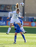 US midfielder Heather O'Reilly (9) heads the ball.  The U.S. Women's National Team defeated Italy 1-0 at Toyota Park in Bridgeview, IL on November 27, 2010 to advance to the Women's World Cup in Germany.