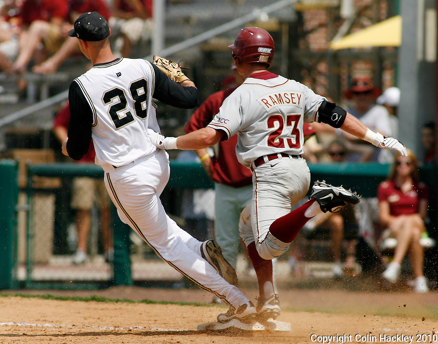 TALLAHASSEE, FL 6/12/10-FSU-VANDY BASE10 CH-Florida State's James Ramsey is beat to first by Vanderbilt pitcher Tyler Everett Saturday during NCAA Super Regional action at Dick Howser Stadium in Tallahassee. The Commodores beat the Seminoles 6-2 to stay alive for game three...COLIN HACKLEY PHOTO