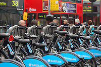 Barclays Cycle Hire (BCH), public bicycle sharing scheme, launched on 30 July 2010 in London, UK. Picture by Manuel Cohen