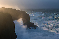 Wind fed waves from Hurricane Gonzalo break on coastal cliffs at Butt of Lewis, Isle of Lewis, Scotland