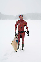 Bjarte Nygard (Norway). Freediving competition Oslo Ice Challenge at freshwater lake Lutvann outside the Norwegian capital Oslo. Atheletes, including current and former world champions, entered a hole in the ice to compete. The participants reached depths down to 52 meters below the surface.